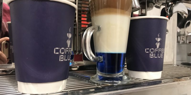 Layered coffee with Coffee blue cups