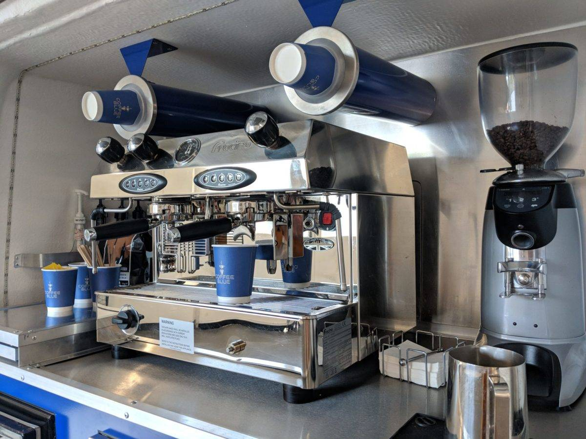 Coffee Dispenser and Machine in Coffee Van