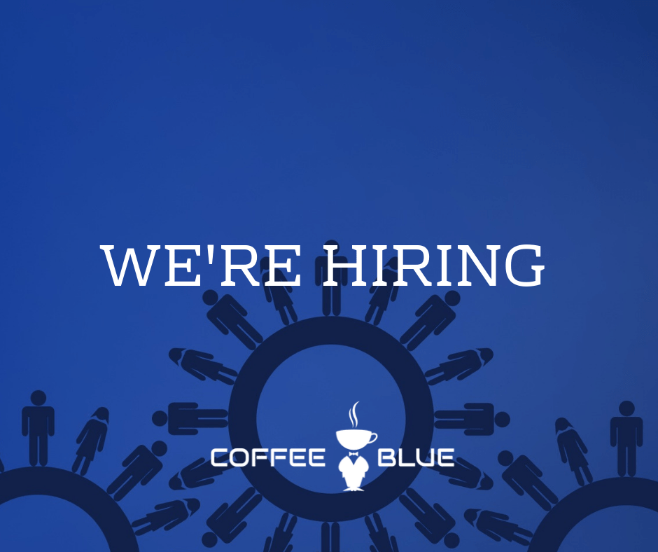We're hiring text on blue background
