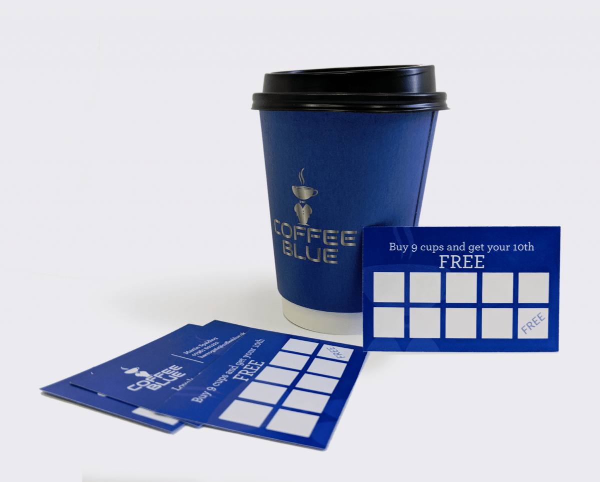 Coffee Blue Cup and Loyalty Cards