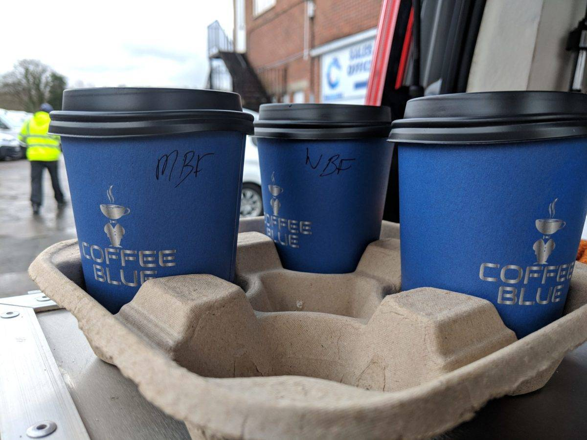 Labelled coffee cups