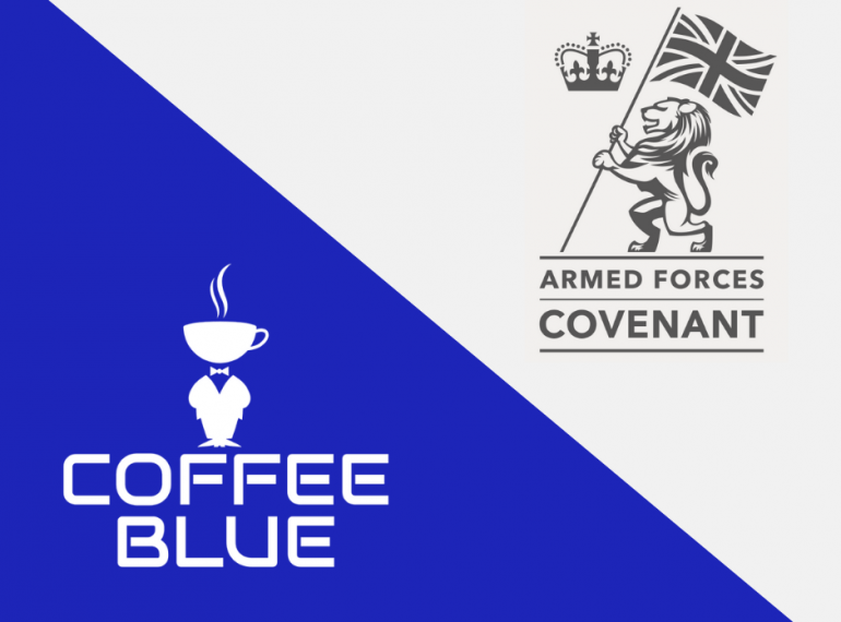 Coffee Blue logo with Armed Forces Covenant logo